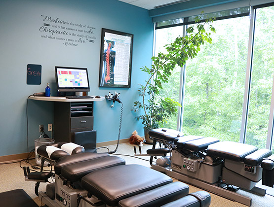 State of the Art Chiropractic Adjustment Room at Living Well Balanced